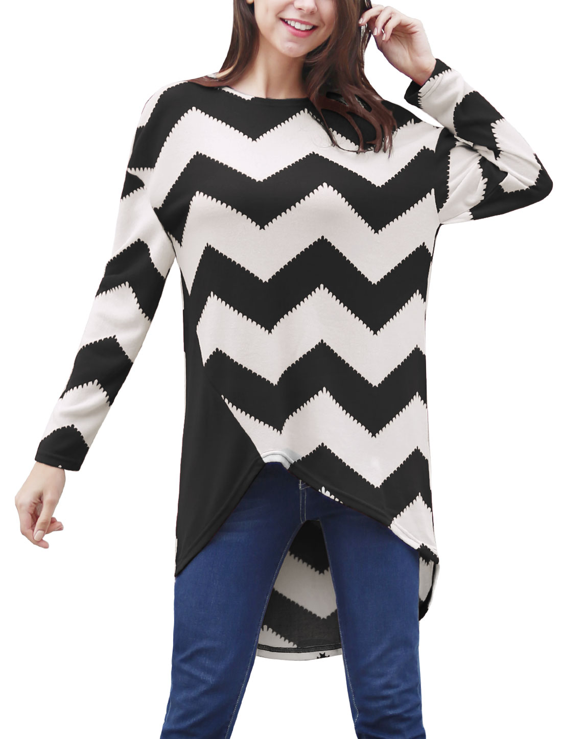 Women Chevron Print Asymmetric Hem Loose Tunic Top Black XL