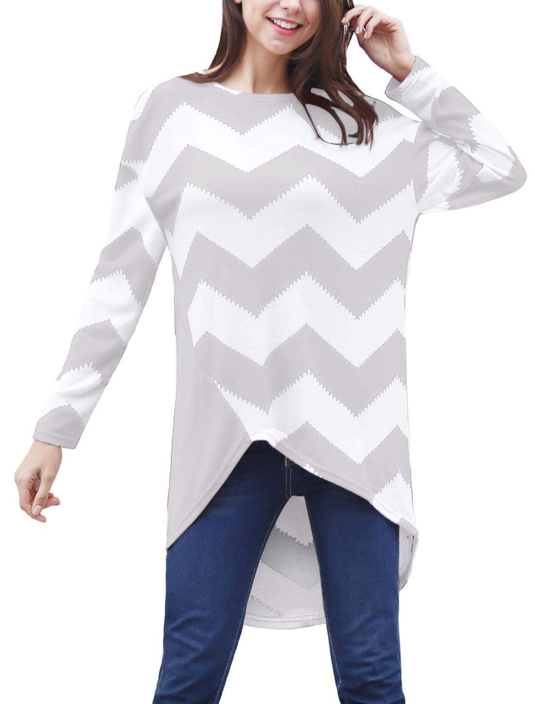 Women Chevron Print Asymmetric Hem Loose Tunic Top Gray L