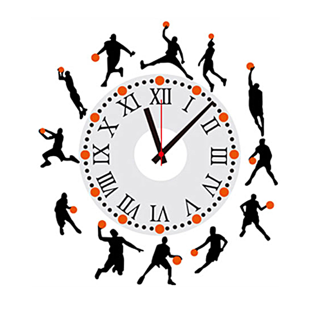 Home Office PVC Basketball Man Pattern Removable Water Resistant DIY 3D Wall Decoration Clock Art Sticker Decal