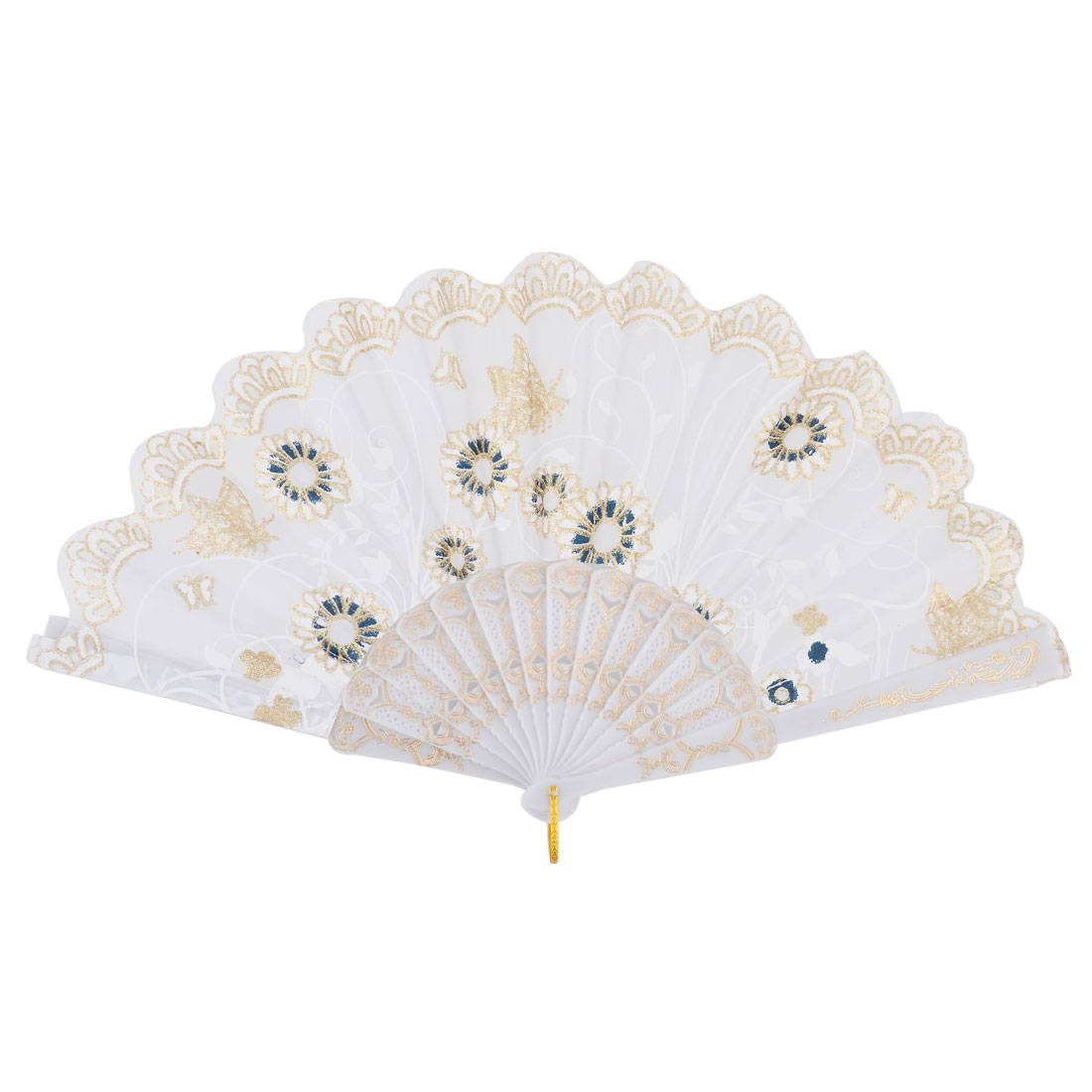 Lady Plastic Frame Butterfly Flowers Print Hand Folding Cooling Fan White