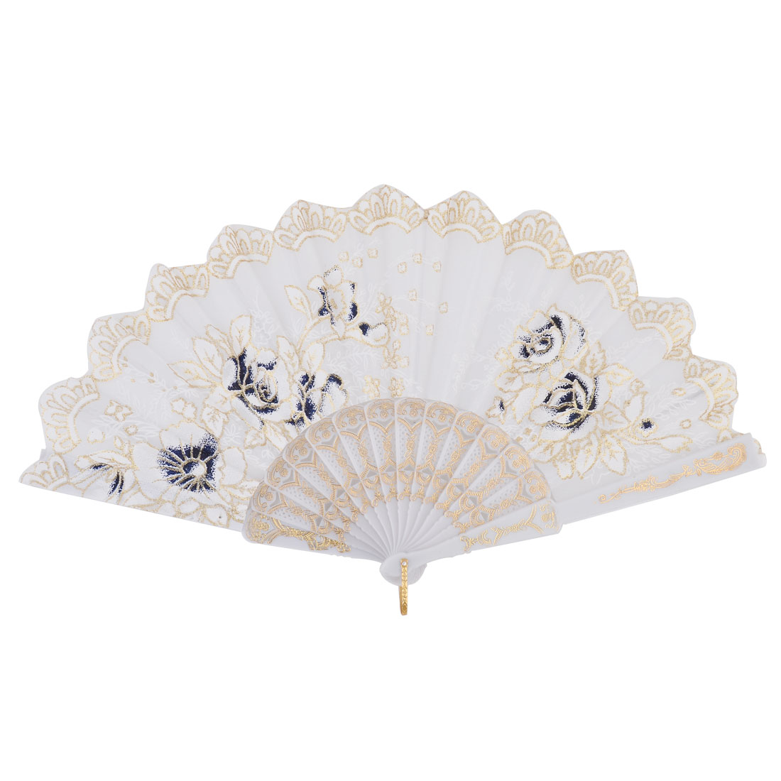 Lady Plastic Frame Floral Prints Hand Folding Cooling Fan White Blue