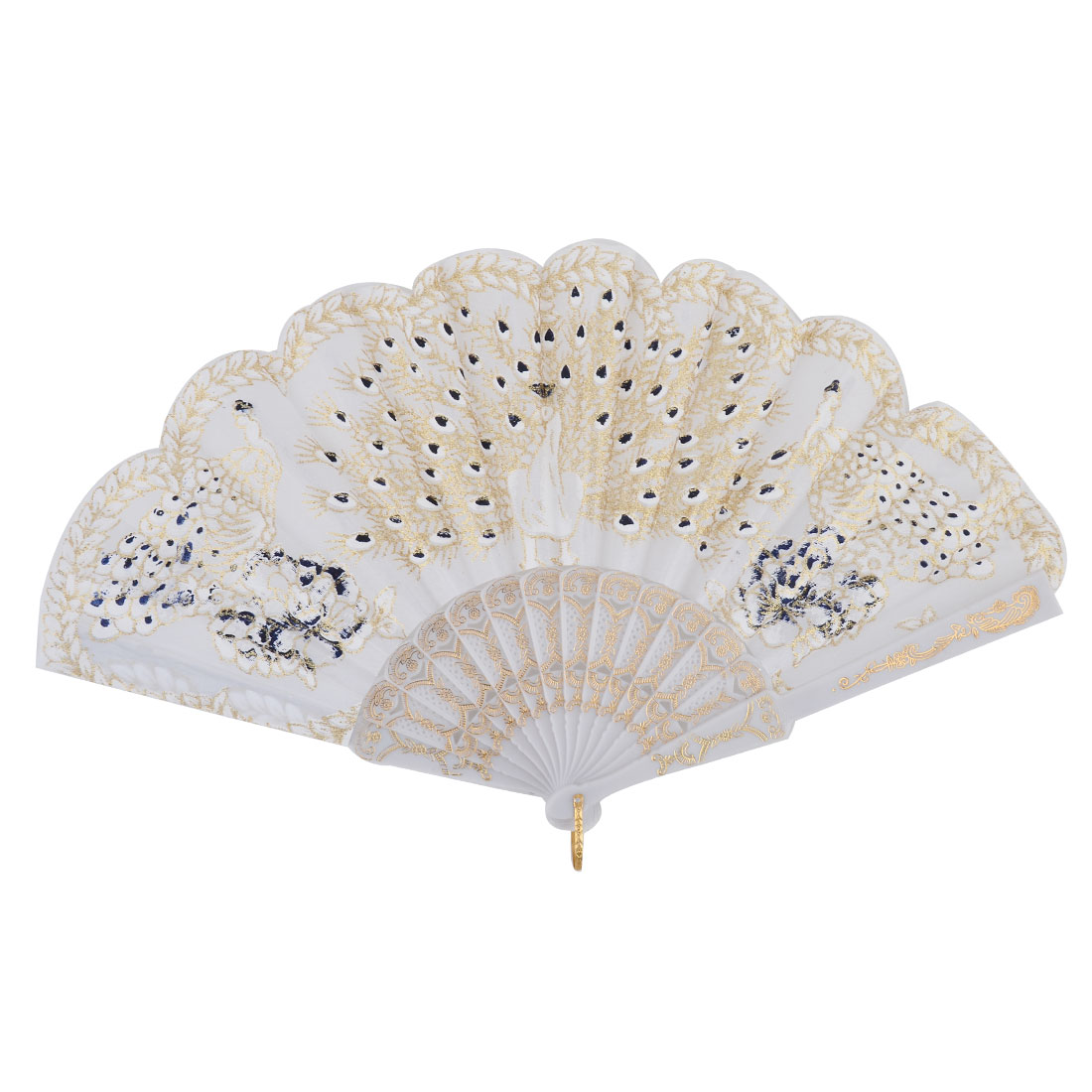 Plastic Carved Frame Glittery Peacock Pattern Dancing Folding Art Hand Fan White