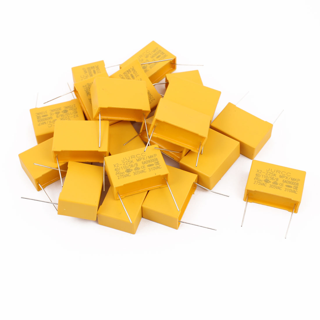 20Pcs Metal Axial Leads Safety Polyester Film Capacitor 310VAC 2.2uF Yellow