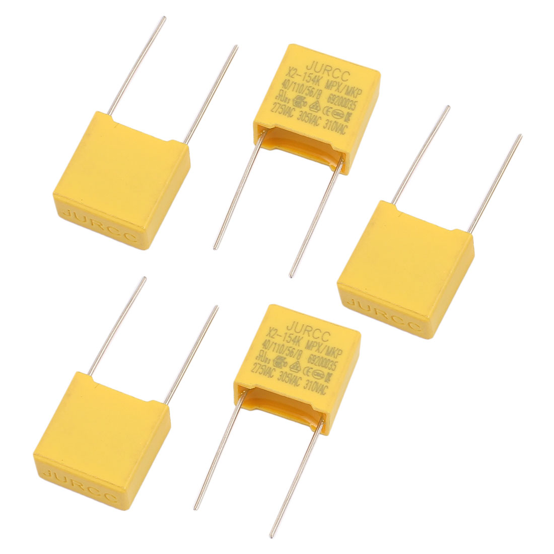 5Pcs Metal Axial Leads Safety Polyester Film Capacitor 310VAC 0.15uF Yellow