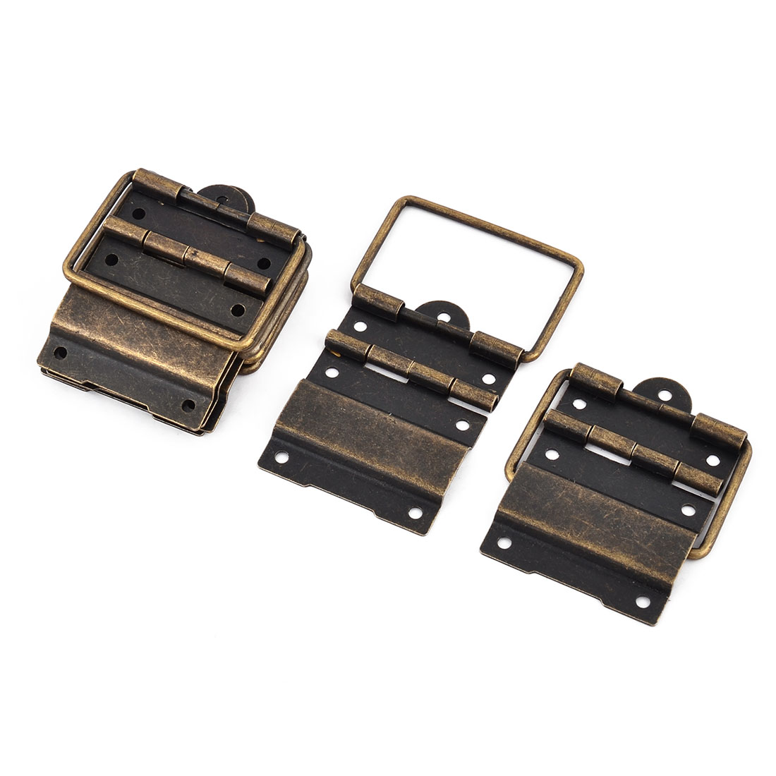 Box Case Retro Style 57mm x 39mm Positioning Support Hinges Bronze Tone 8 PCS
