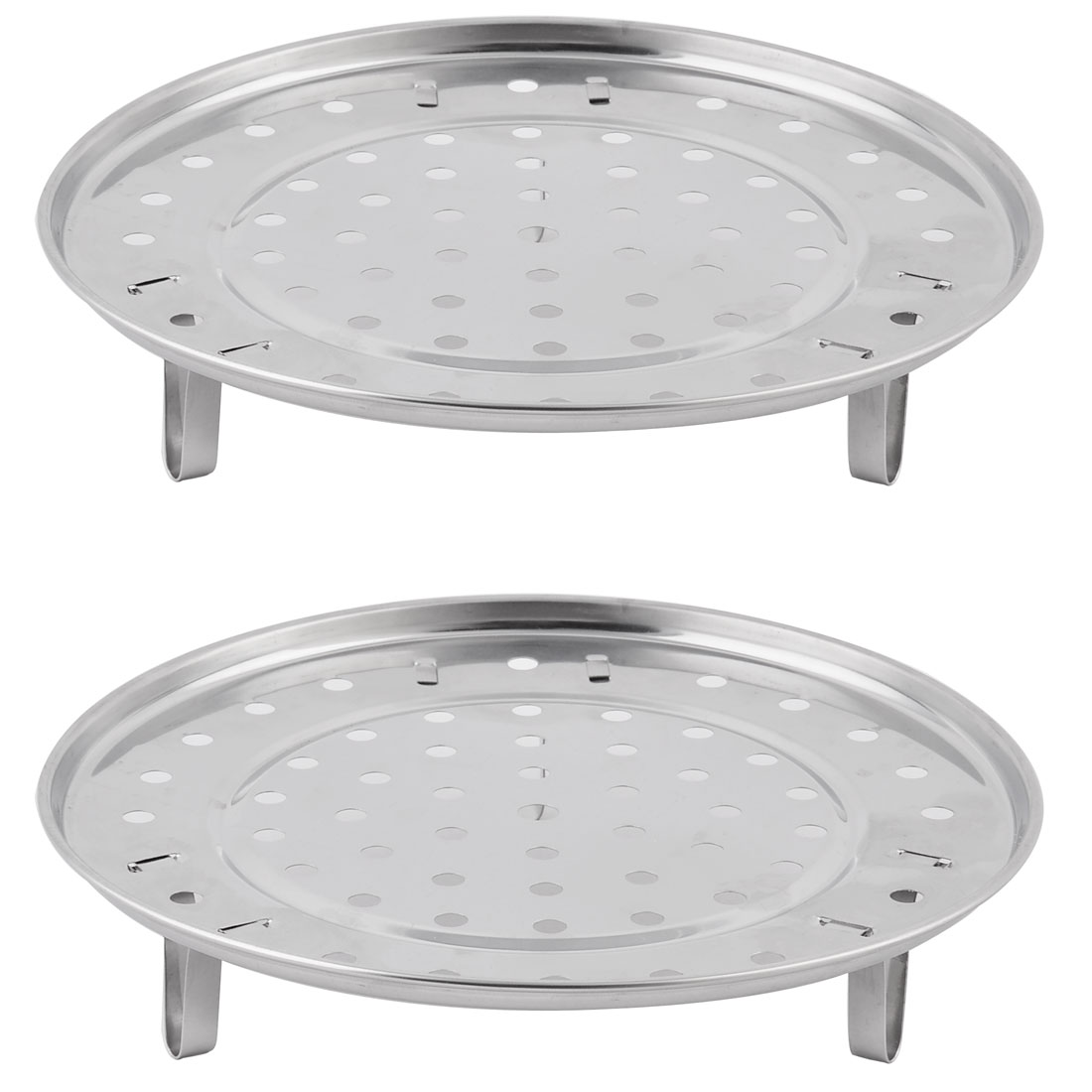 Household Stainless Steel Steaming Rack Tray Stand Cooker Silver Tone 21.5cm Dia 2 PCS