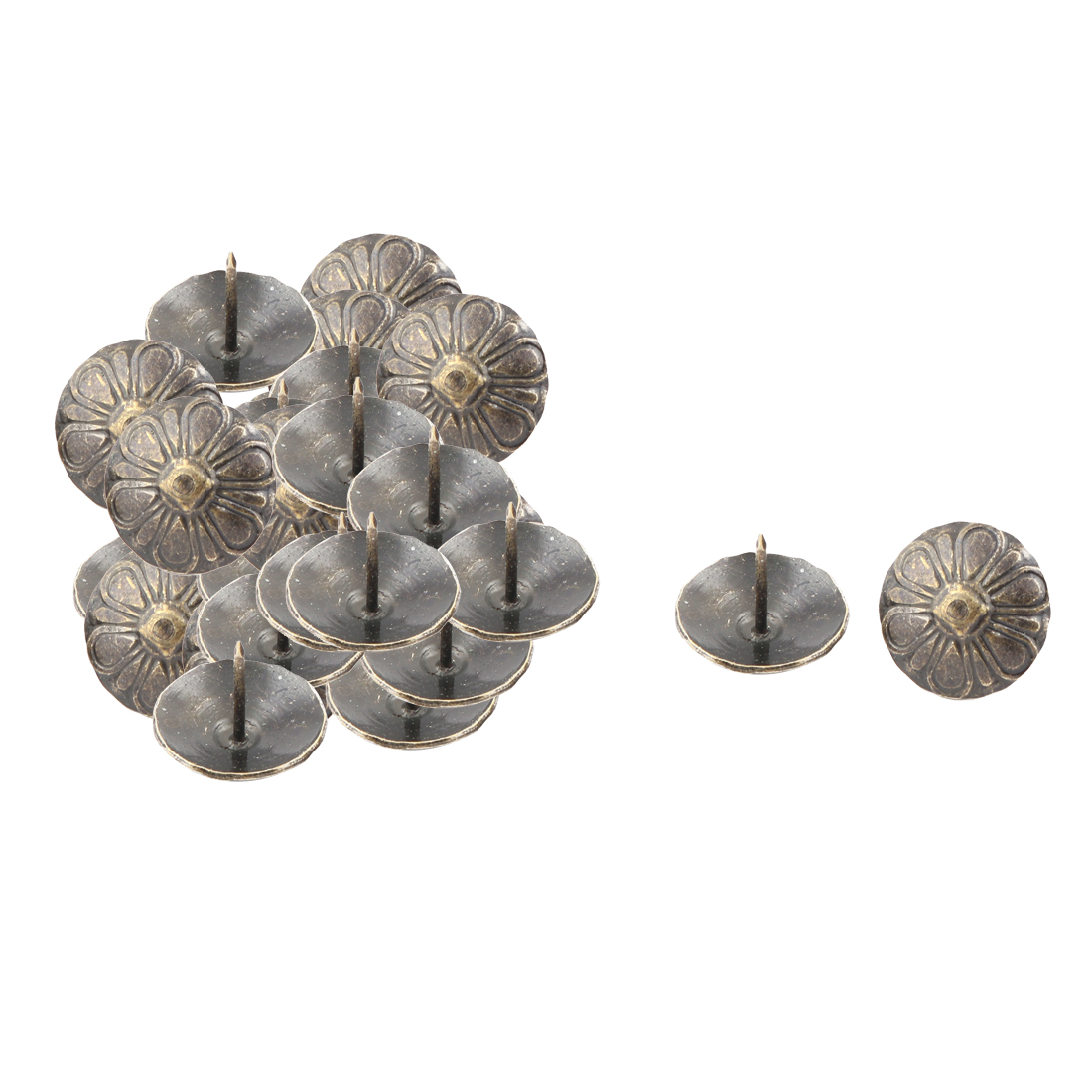 Furniture Vintage Flower Print Round Pin Decorative Domed Nail Bronze Tone 20pcs