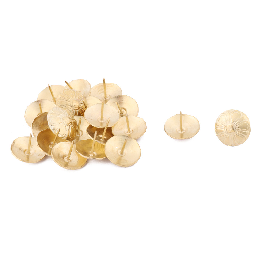 24mmx19mm Home Furniture Metal Vintage Flower Print Domed Nail Gold Tone 20pcs