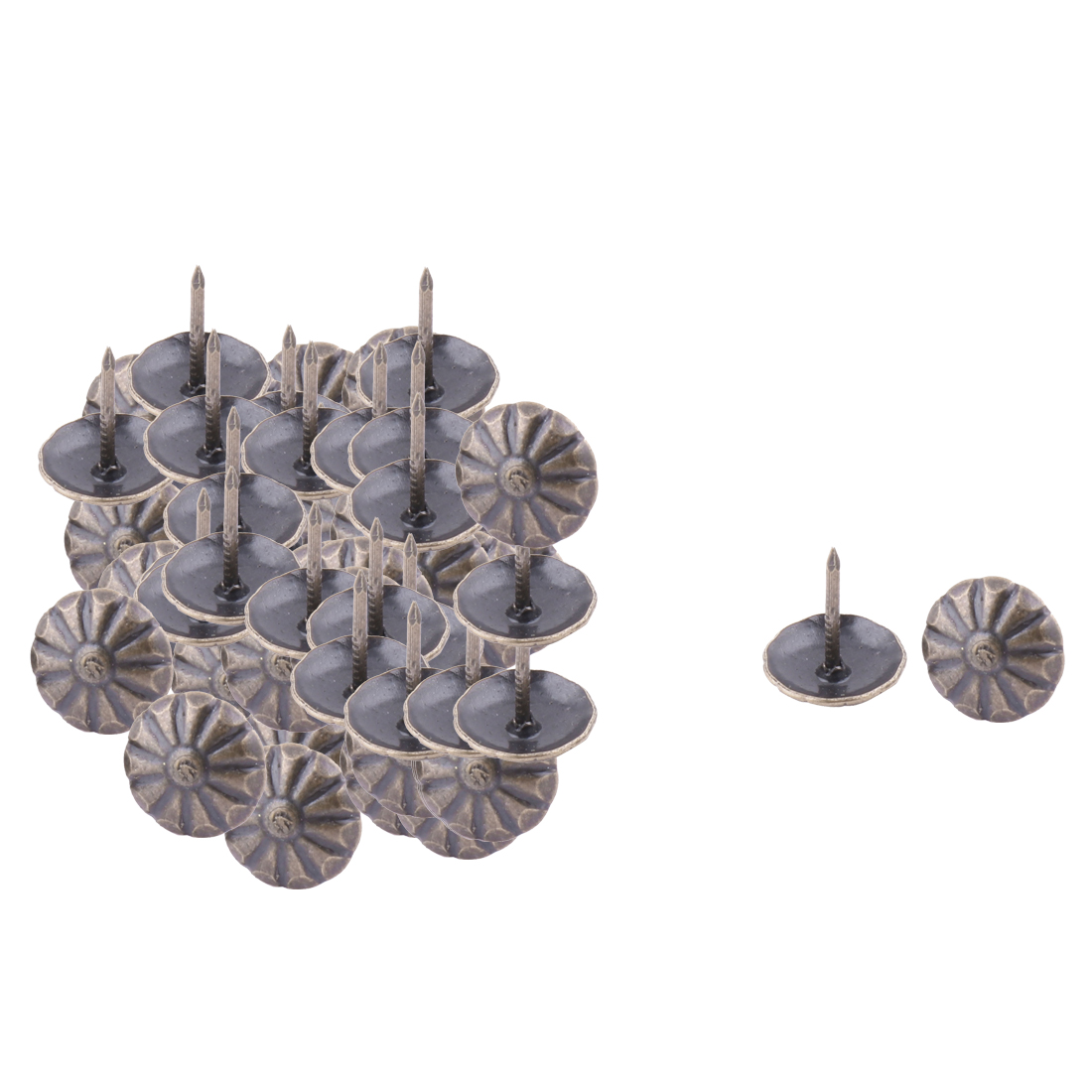 11mmx13mm Home Furniture Metal Round Pin Decorative Domed Nail Dark Gray 50pcs