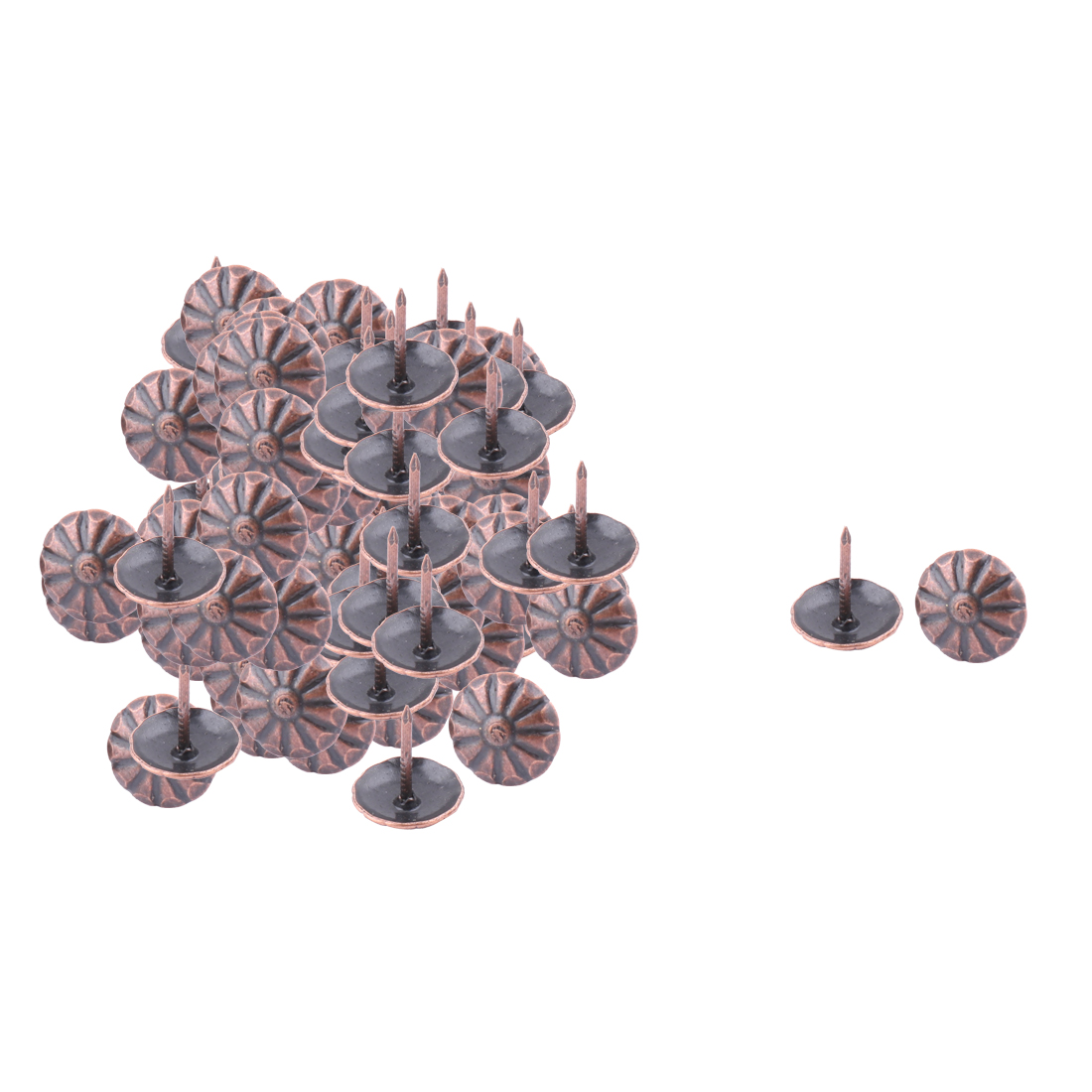 13mmx11mm Home Metal Vintage Style Flower Print Domed Nail Copper Tone 60 PCS