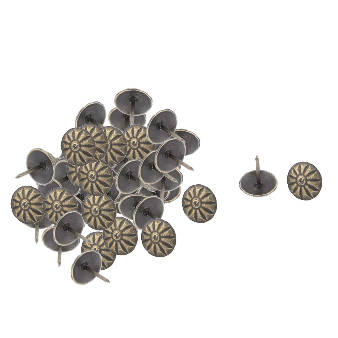 13mmx11mm School Metal Vintage Flower Print Thumb Tack Push Pin Bronze Tone 60pcs