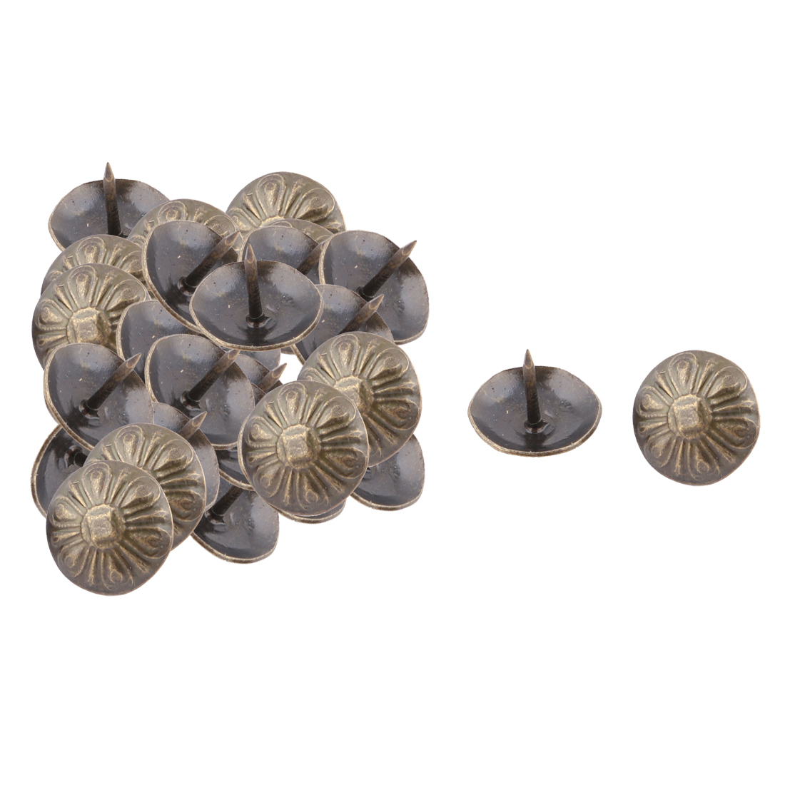 16mm Dia Home Metal Flower Print Pin Decorative Domed Nail Bronze Tone 30pcs