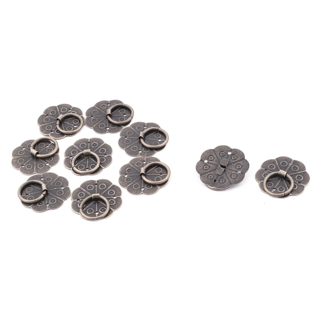 29mm Dia Cabinet Drawer Metal Round Ring Pull Handle Hardware Bronze Tone 10pcs