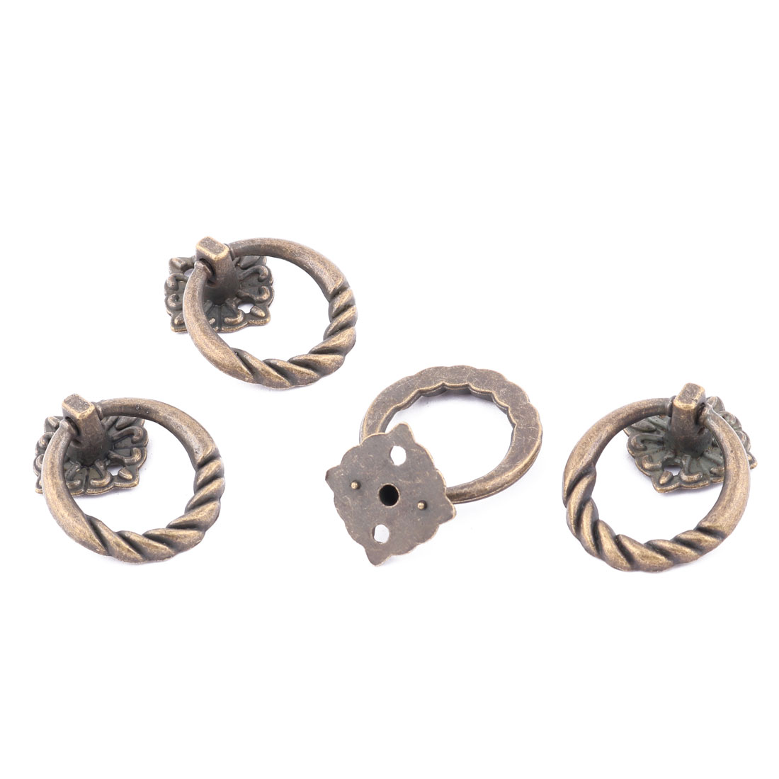 Cupboard Cabinet Drawer Dresser Metal Ring Pull Handle Knob Bronze Tone 4pcs