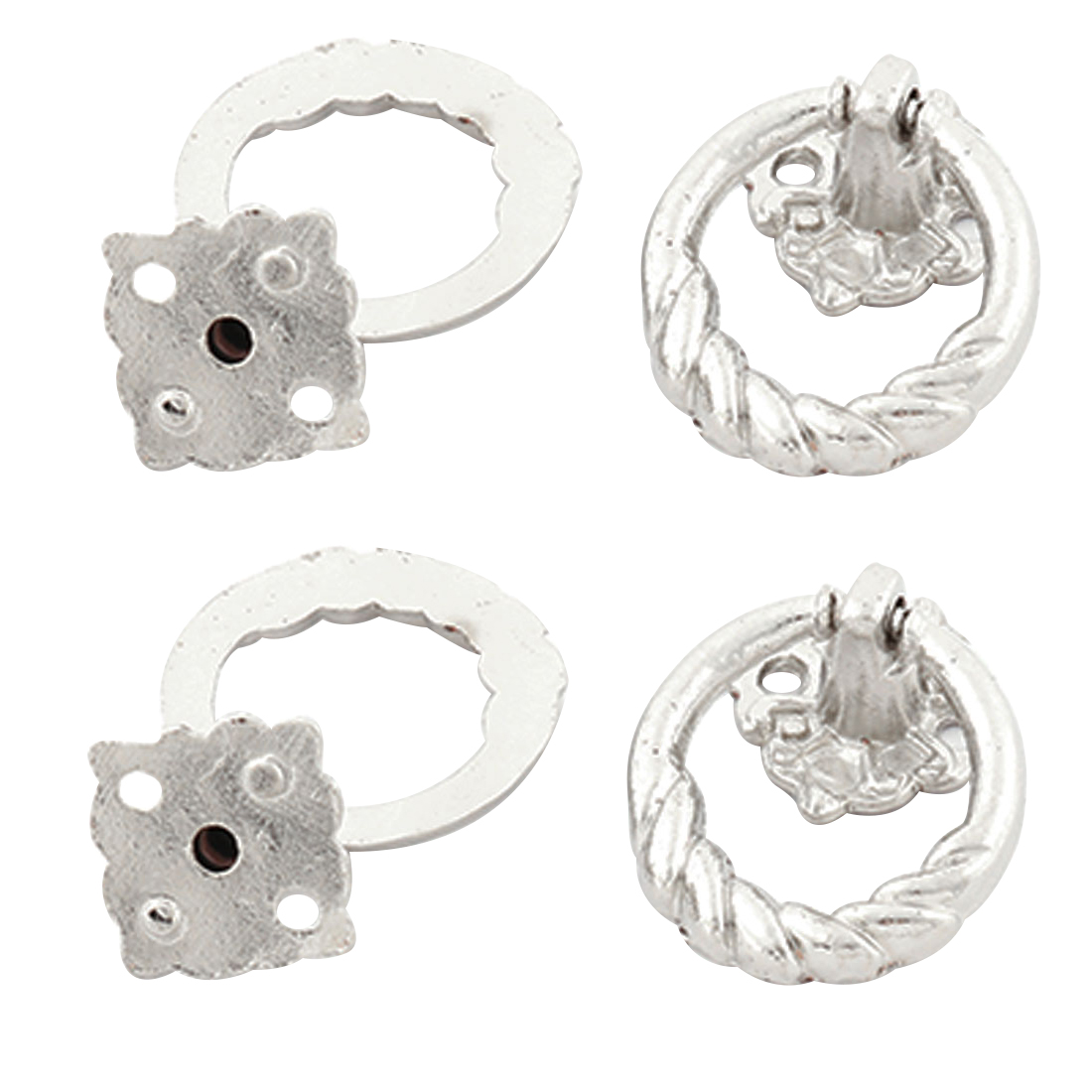 Cupboard Drawer Dresser Metal Single Hole Ring Pull Handle Knob Silver Tone 4pcs