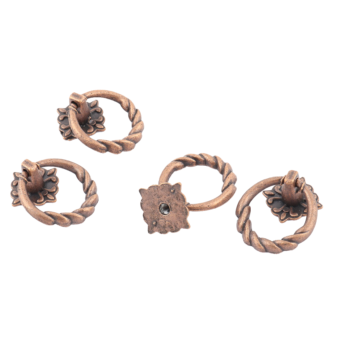Cabinet Drawer Dresser Metal Square Base Ring Pull Handle Knob Copper Tone 4 PCS