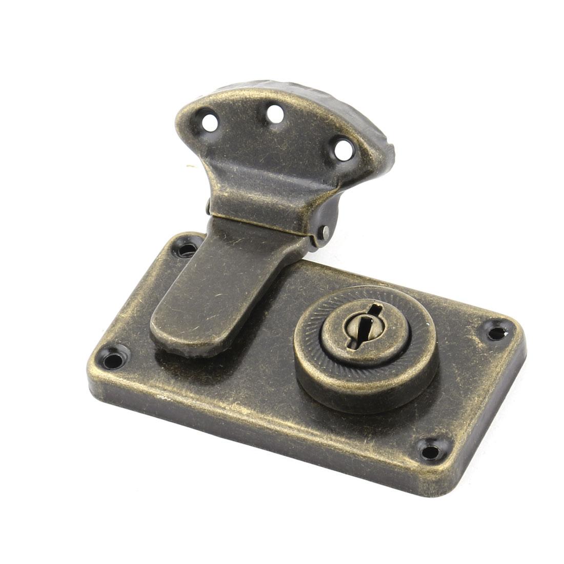 Home Metal Door Case Cabinet Drawer Wardrobe Security Lock Padlock Bronze Tone
