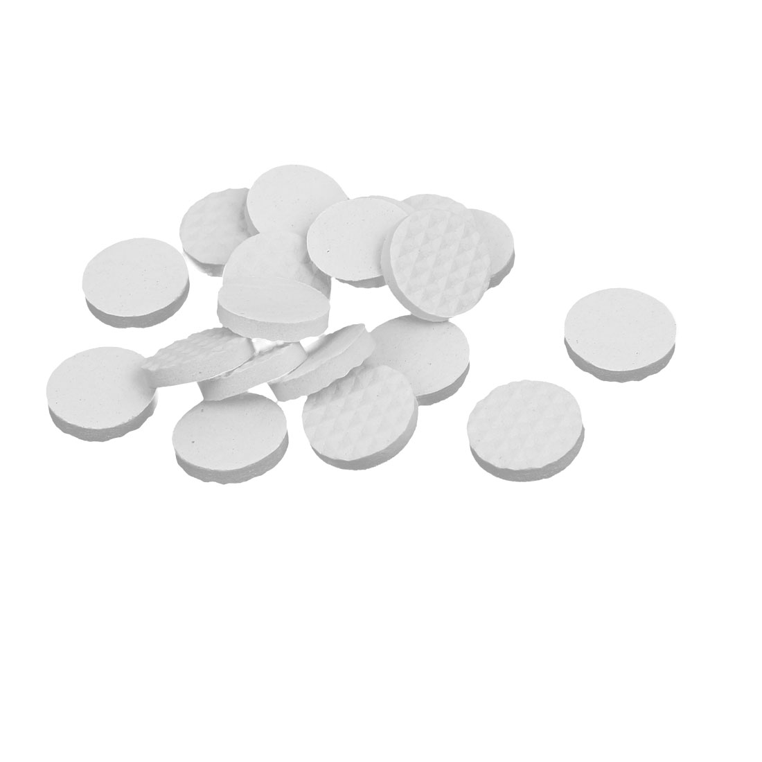 18mm Dia Rubber Self Adhesive Anti-Skid Furniture Protection Pads White 18pcs