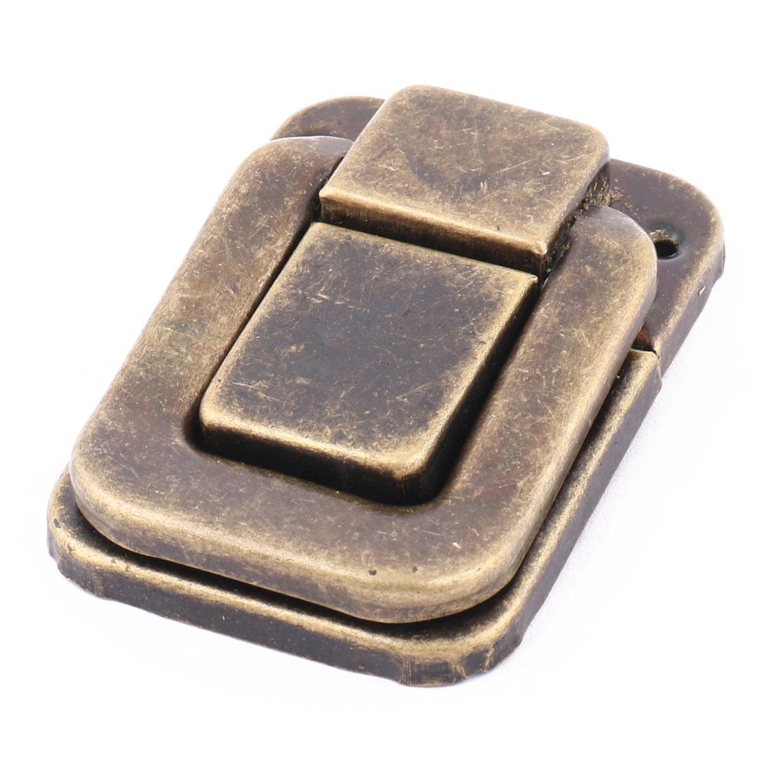 Suitcase Chest Box Lock Hook Hinge Latch Hasp w Screws Brass Tone 80mm x 55mm Set