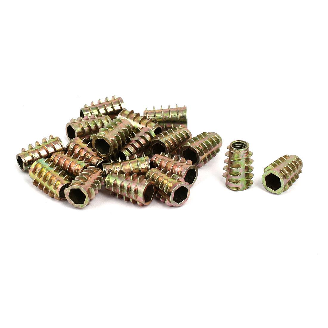 M6x18mm Hex Socket Threaded Insert Nuts Bronze Tone 20pcs for Wood Furniture
