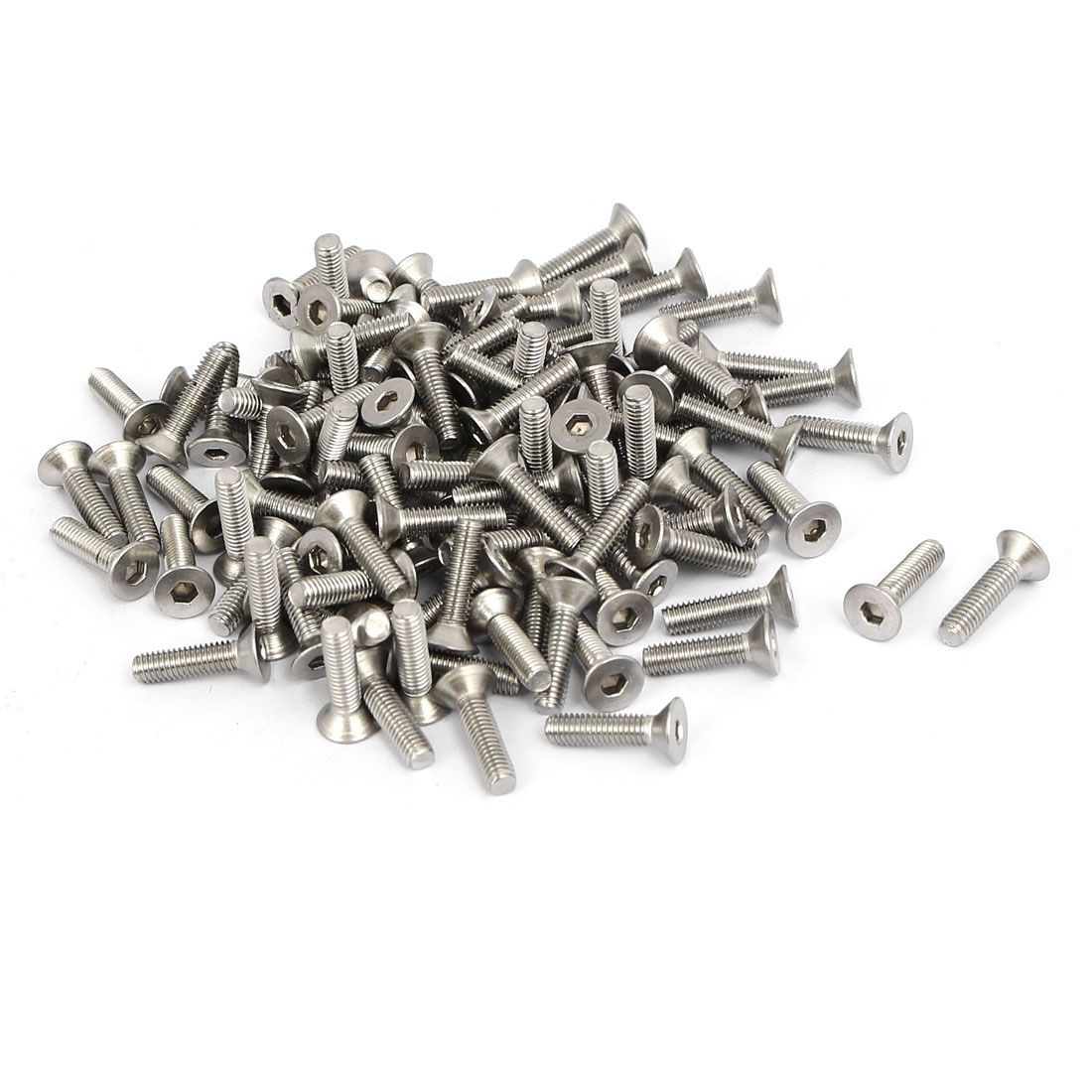M3x12mm 304 Stainless Steel Flat Head Hex Socket Screws Fasteners DIN7991 120pcs