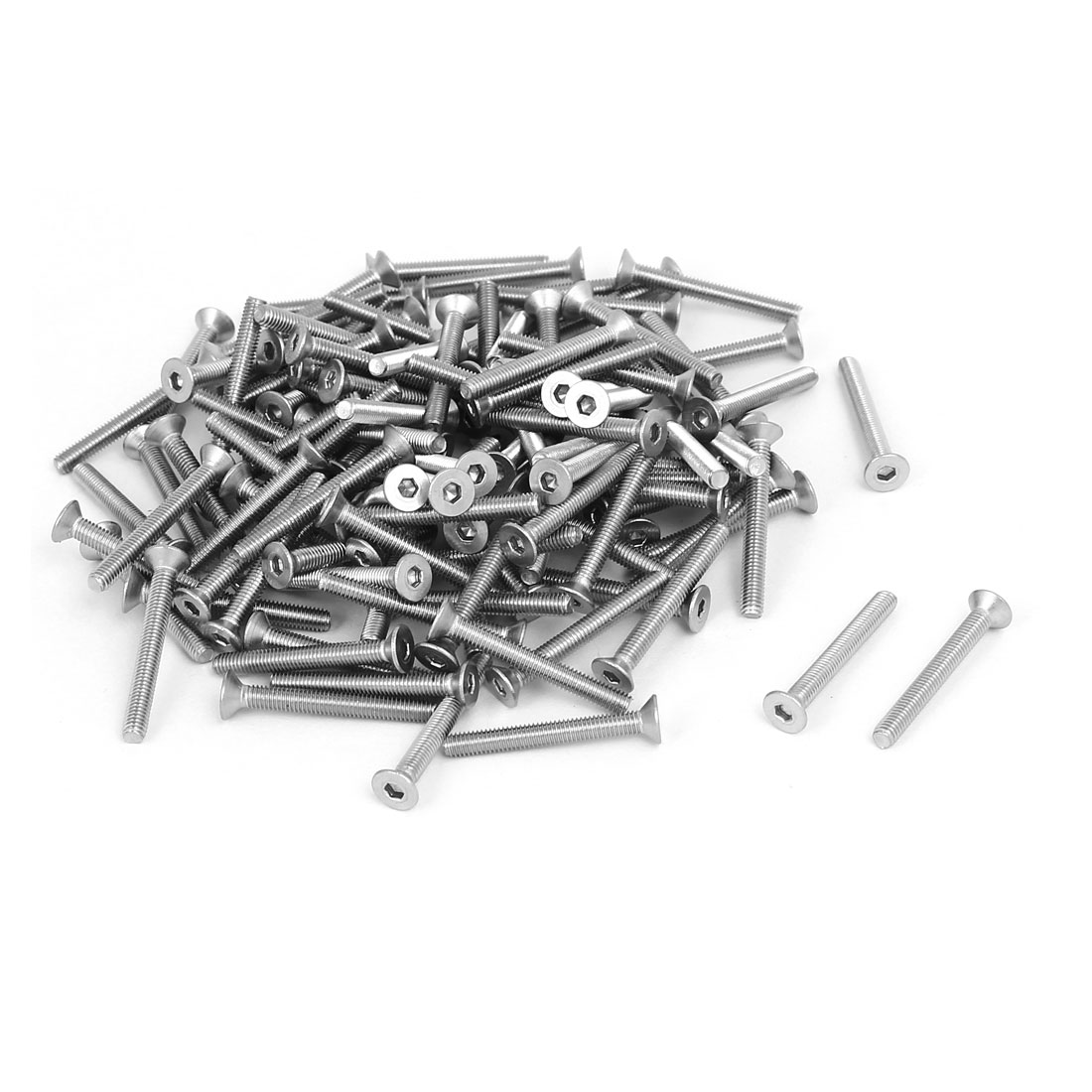 M3x25mm 304 Stainless Steel Flat Head Hex Socket Screws Fasteners DIN7991 120pcs