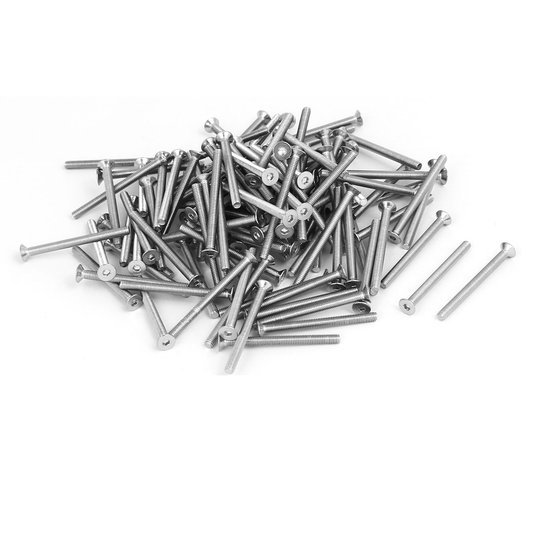 M3x35mm 304 Stainless Steel Flat Head Hex Socket Screws Fasteners DIN7991 120pcs
