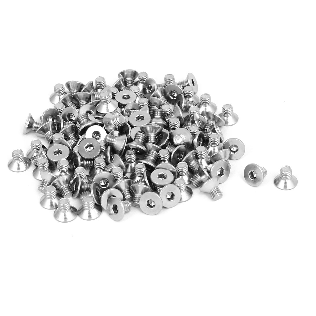M4x6mm 304 Stainless Steel Flat Head Hex Socket Screws Fasteners DIN7991 120pcs
