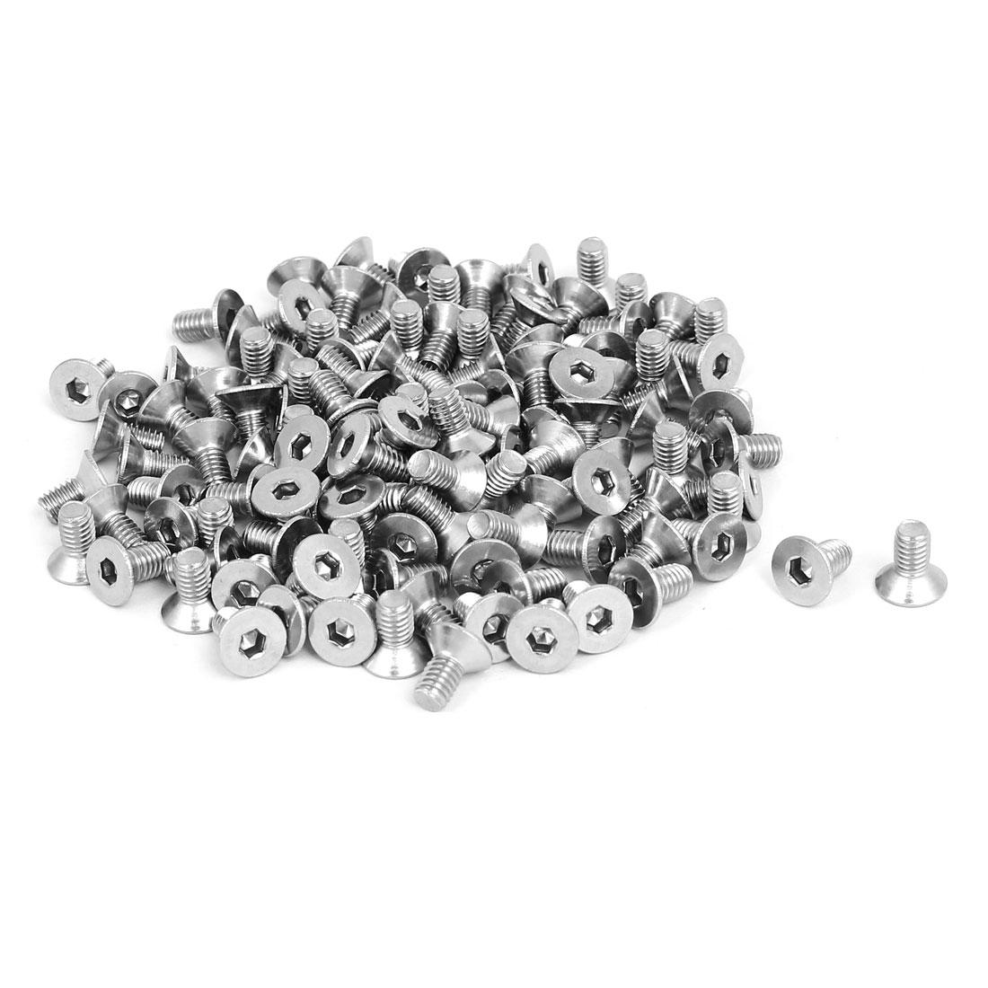 M4x8mm 304 Stainless Steel Flat Head Hex Socket Screws Fasteners DIN7991 120pcs