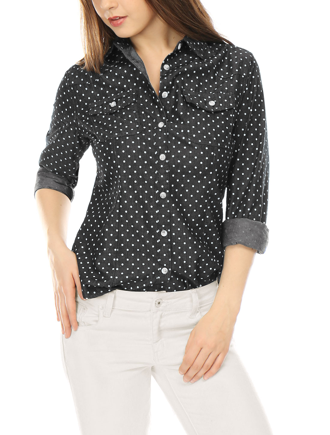 Allegra K Women Dots Point Collar Chest Pockets Button Down Shirt Black XS