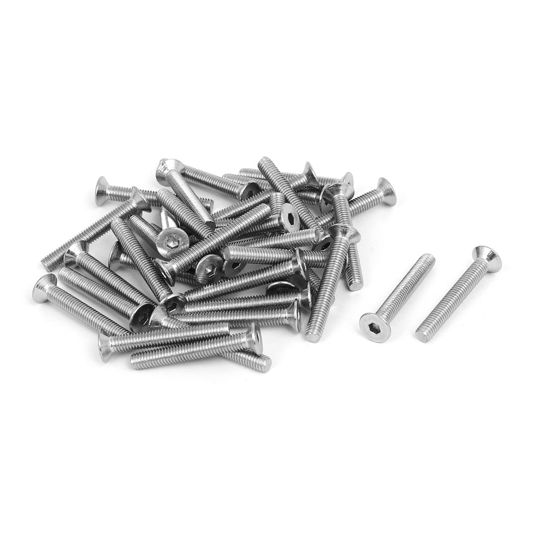 M5x35mm 304 Stainless Steel Flat Head Hex Socket Screws Fasteners DIN7991 35pcs