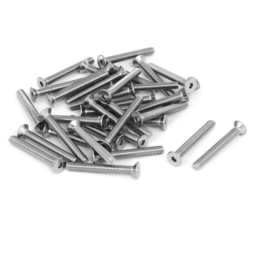 M5x40mm 304 Stainless Steel Flat Head Hex Socket Screws Fasteners DIN7991 35pcs