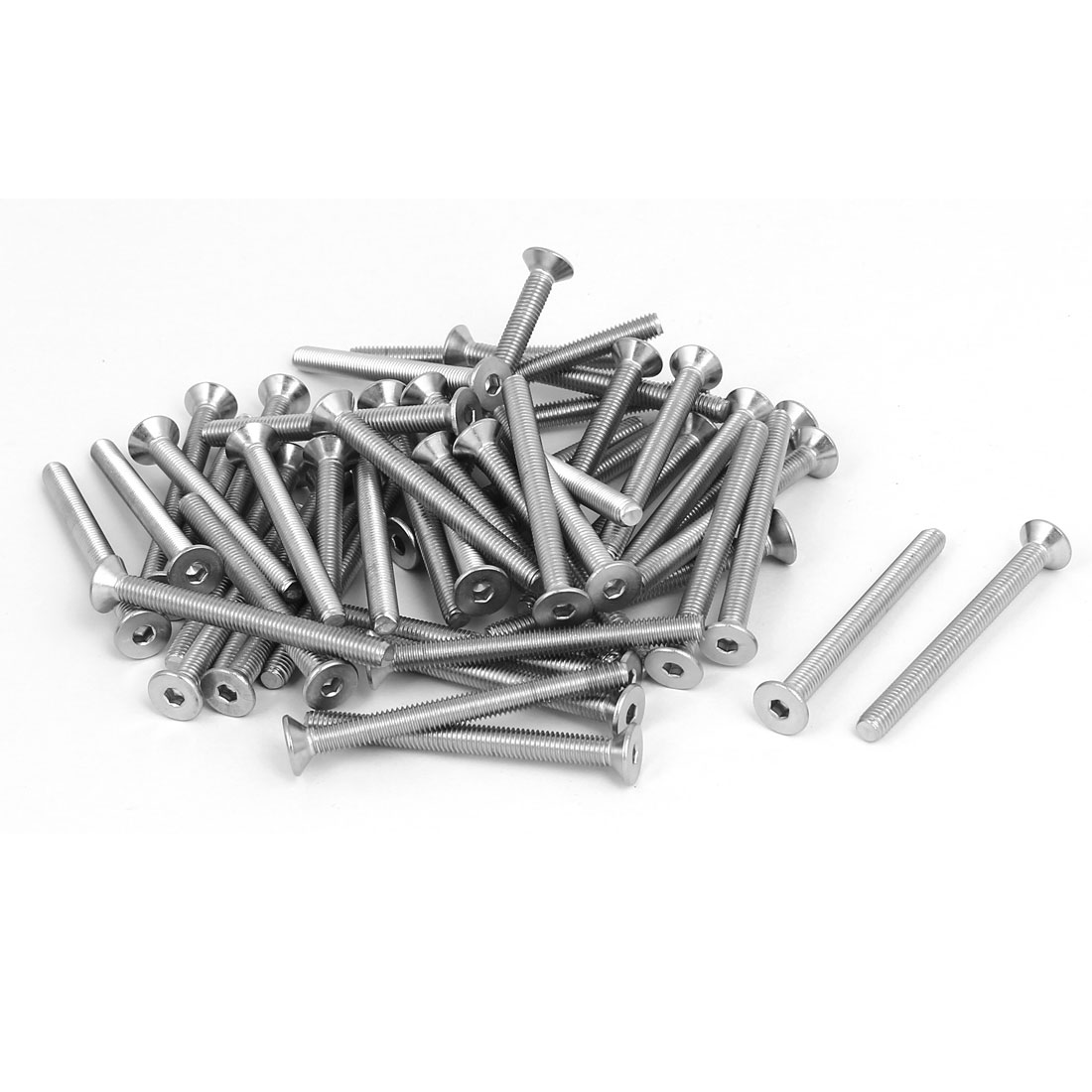 M5x55mm 304 Stainless Steel Flat Head Hex Socket Screws Fastener DIN7991 50pcs