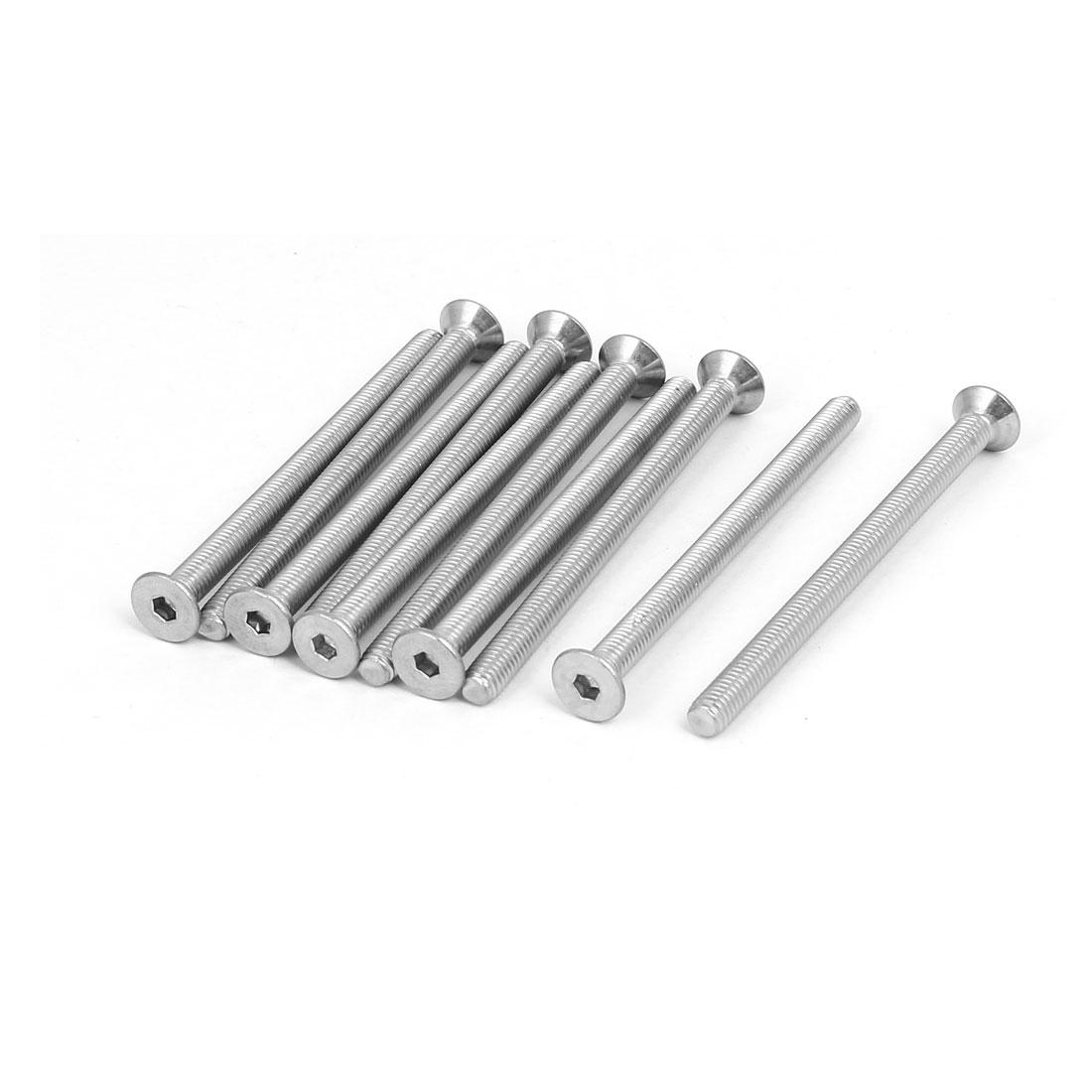 M5x70mm 304 Stainless Steel Flat Head Hex Socket Screws Fastener DIN7991 10pcs