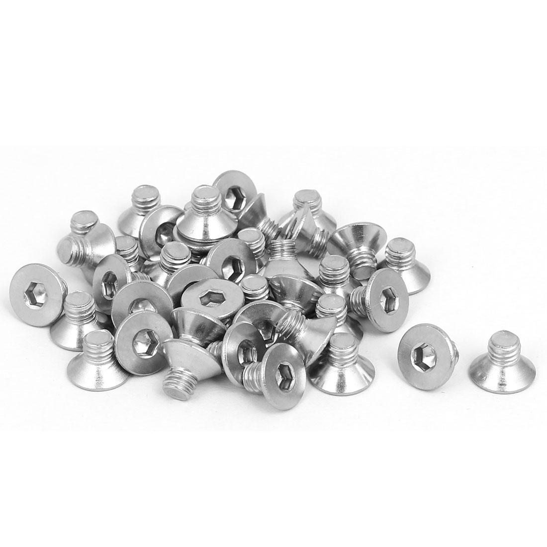 M6x8mm 304 Stainless Steel Flat Head Hex Socket Screws Fastener DIN7991 40pcs