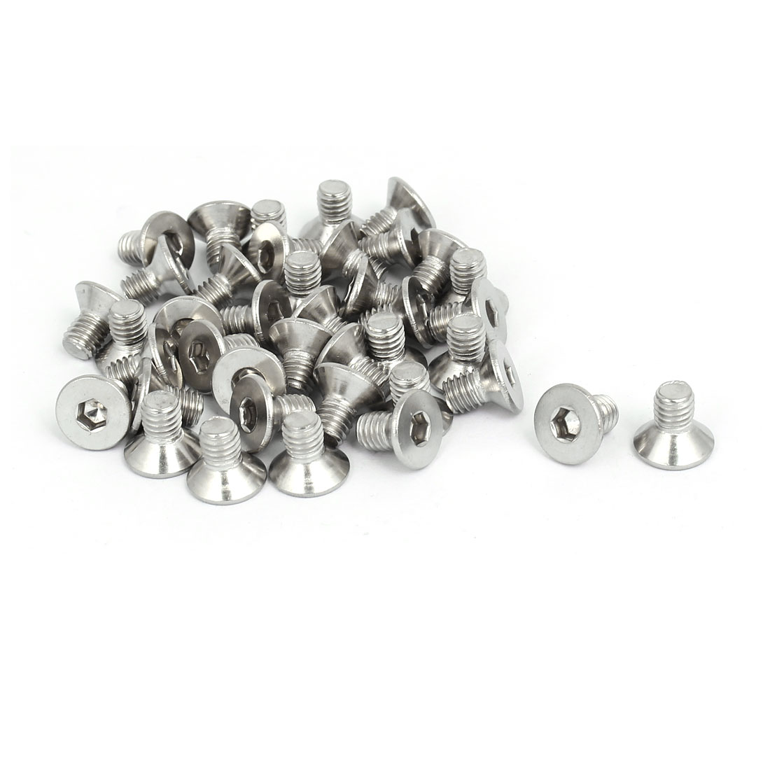 M6x10mm 304 Stainless Steel Flat Head Hex Socket Screws Fastener DIN7991 40pcs