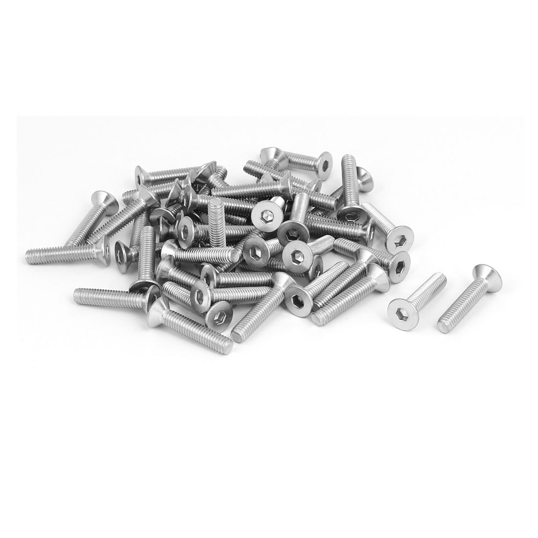 M6x30mm 304 Stainless Steel Flat Head Hex Socket Screws Fastener DIN7991 50pcs