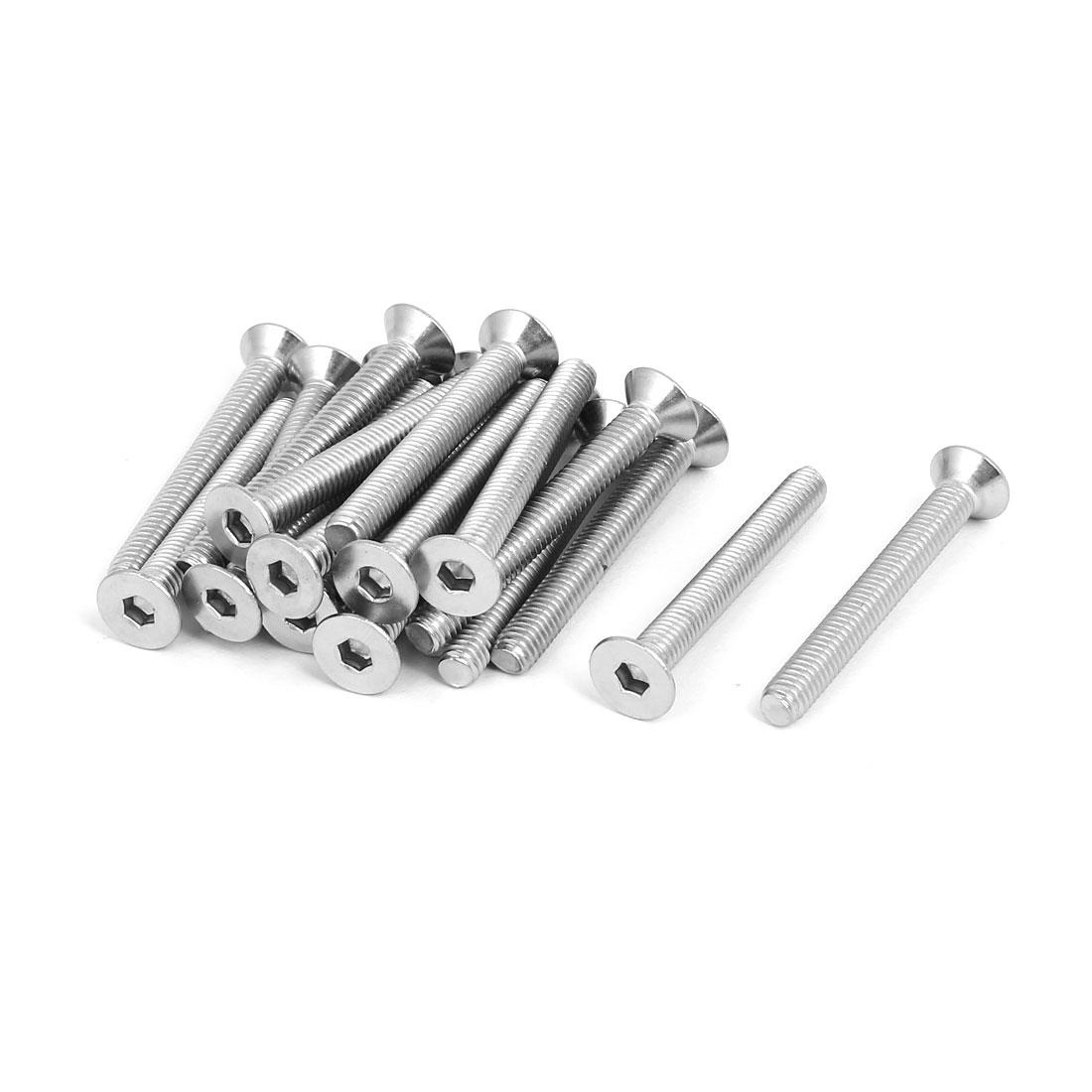 M6x50mm 304 Stainless Steel Countersunk Flat Head Hex Socket Screws DIN7991 20pcs