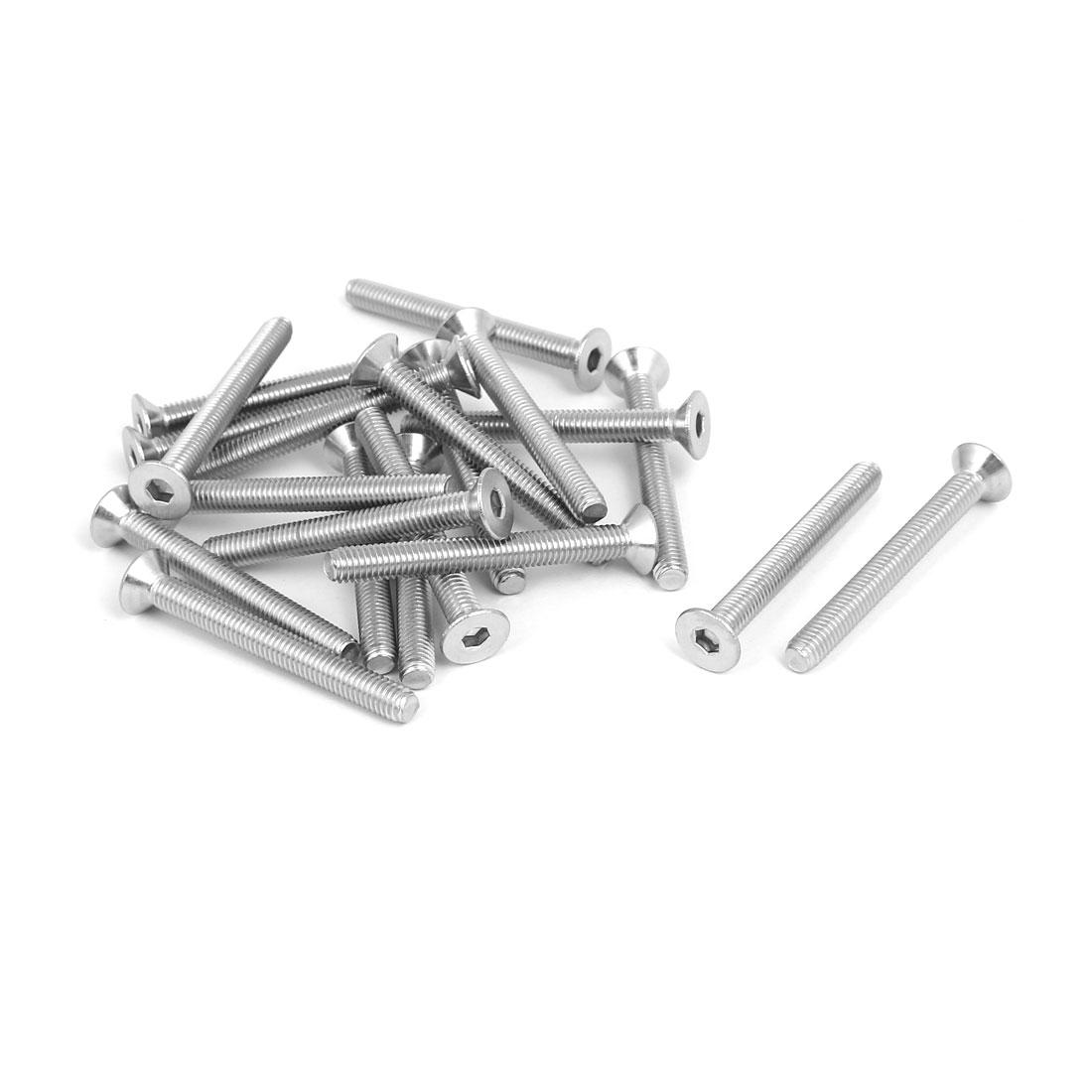 M6x55mm 304 Stainless Steel Countersunk Flat Head Hex Socket Screws DIN7991 20pcs