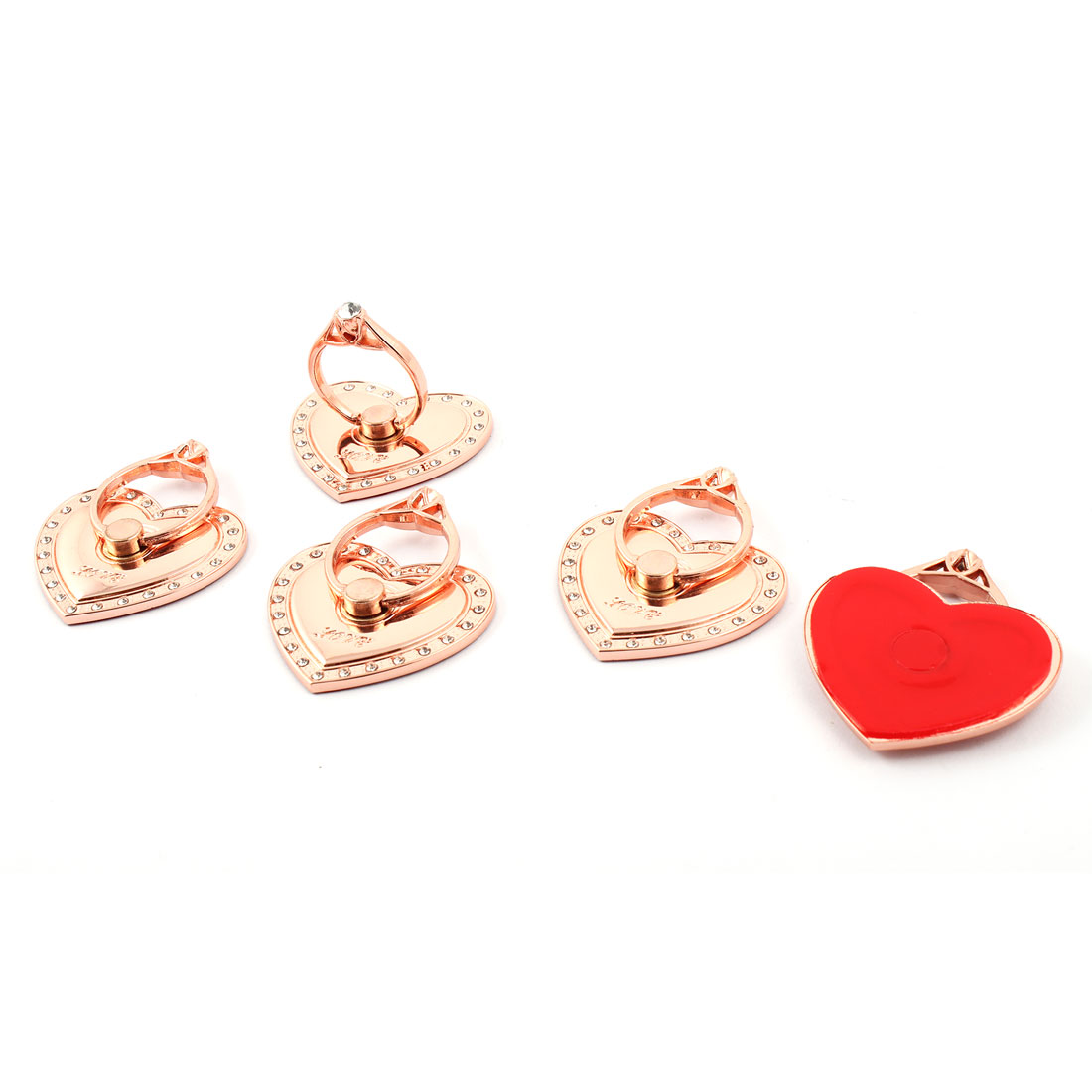 Mobilephone Metal Rhinestone Inlaid Finger Grip Ring Heart Shaped Holder Bracket Rose Gold Tone 5pcs