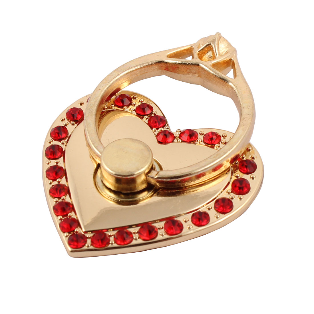 Mobile Phone Metal Rhinestone Inlaid Finger Grip Ring Buckle Heart Shaped Holder Bracket Red