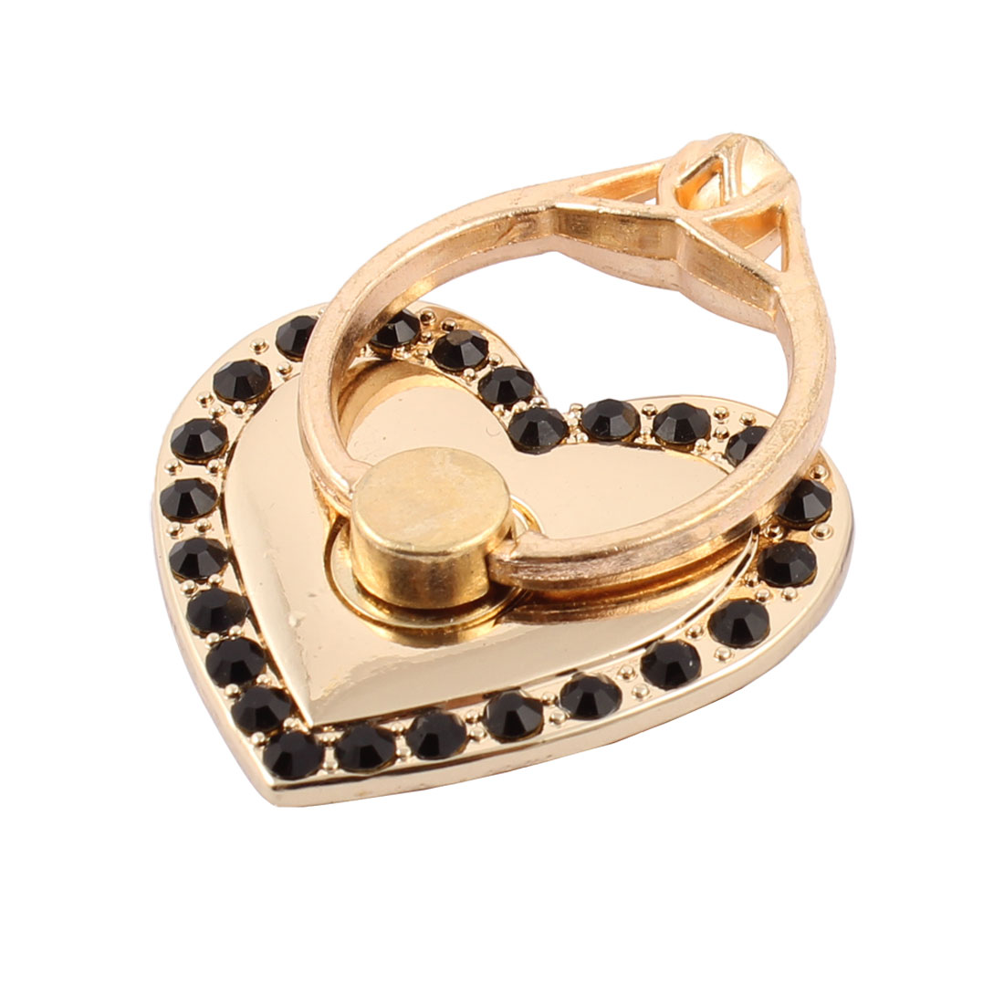 Smartphone Metal Rhinestone Inlaid Finger Ring Buckle Heart Shaped Holder Black