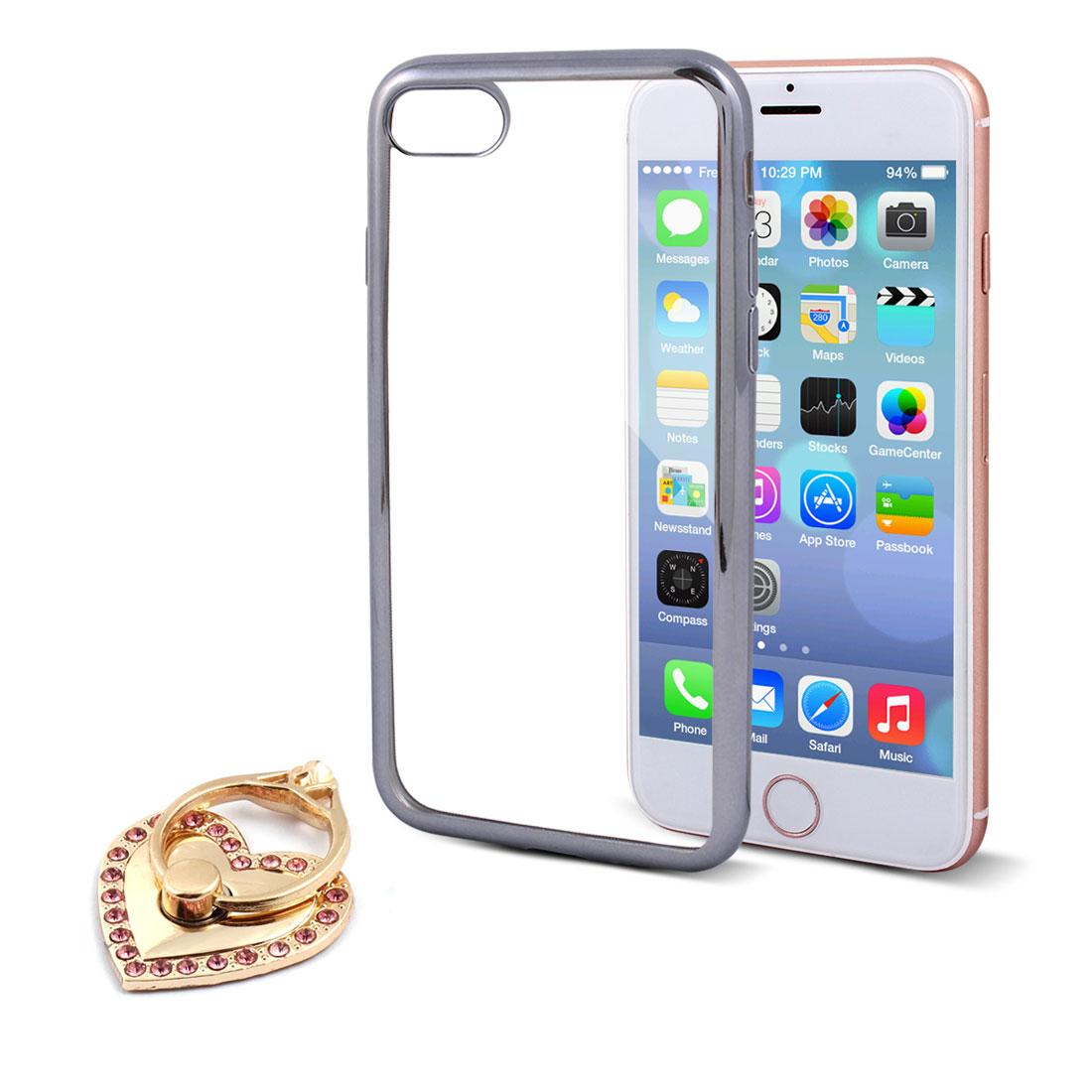 Phone Shatter Resistant Case Gray w Rhinestones Finger Ring Holder for iPhone 7