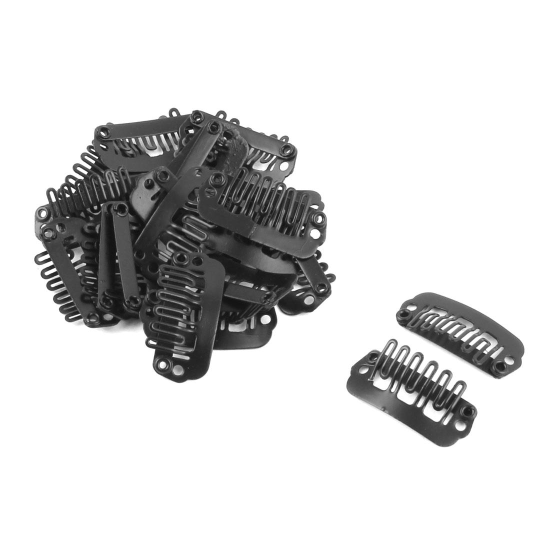 Woman Metal Hair Wig Extensions Hairclip Accessory Black 2.2cm x 1.2cm 20pcs