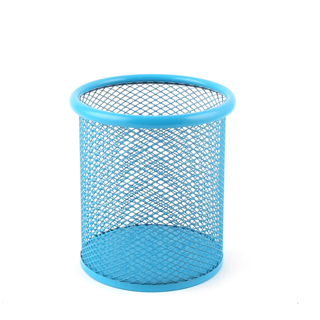 Home Office Metal Meshy Desktop Decor Stationery Pencil Ruler Pen Holder Container Blue