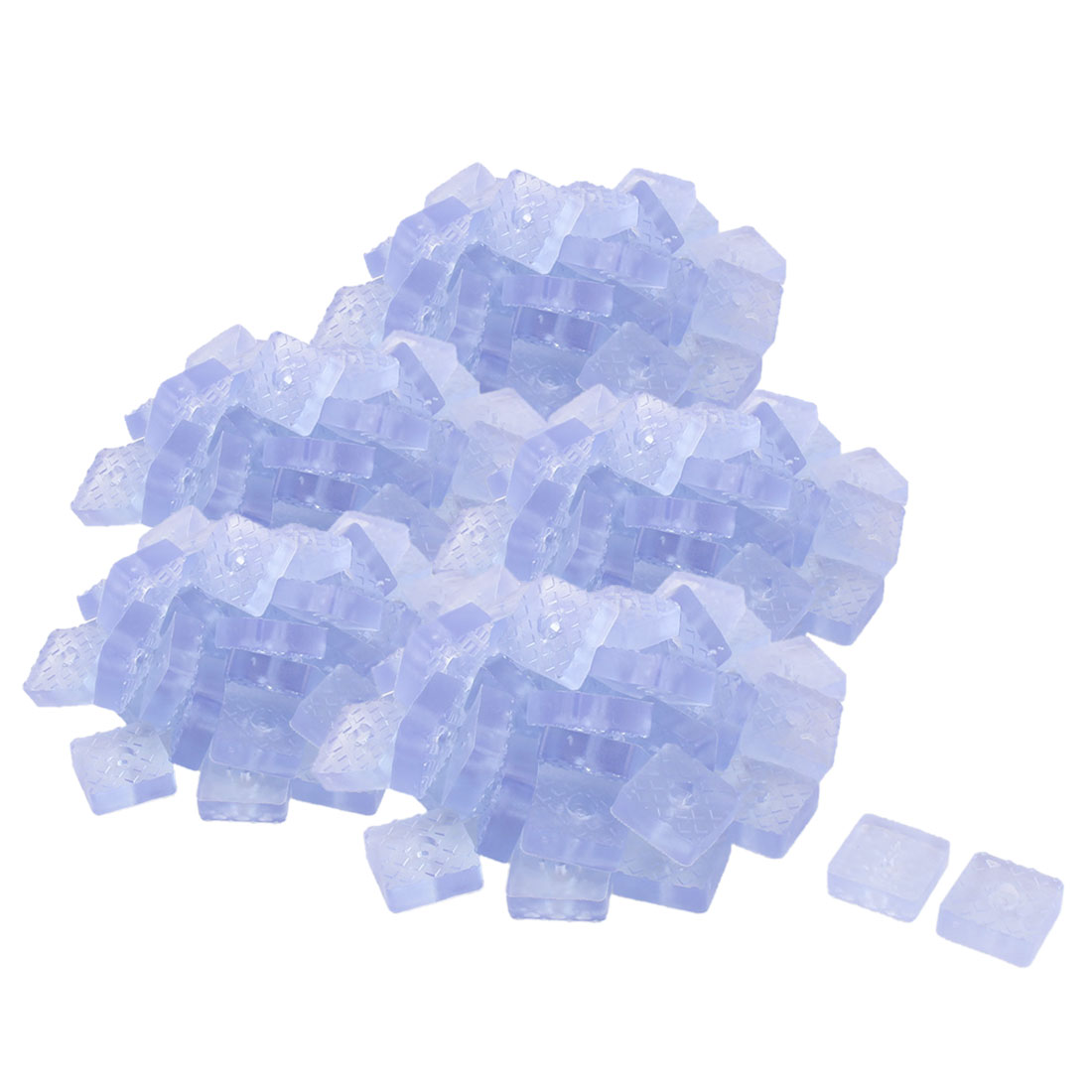 Office Rubber Square Table Furniture Foot Protector Pad Clear Blue 30 x 30mm 200 Pcs