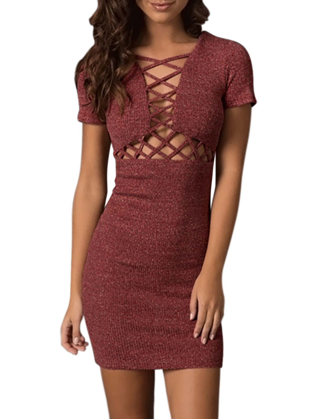 Women Short Sleeves Lattice Design Slim Fit Tunic Knit Dress Red S