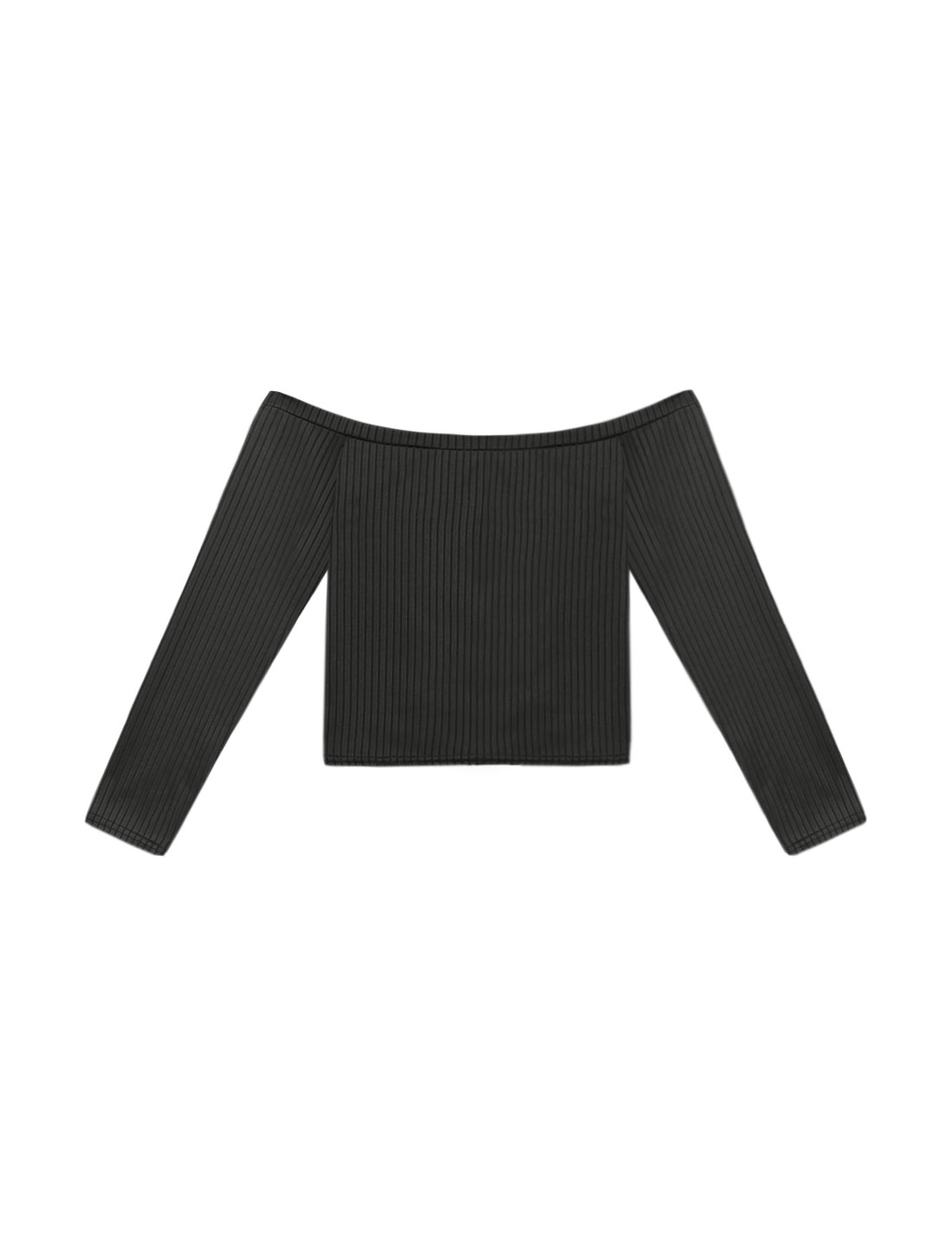 Women Off the Shoulder Long Sleeves Slim Fit Crop Top Black M