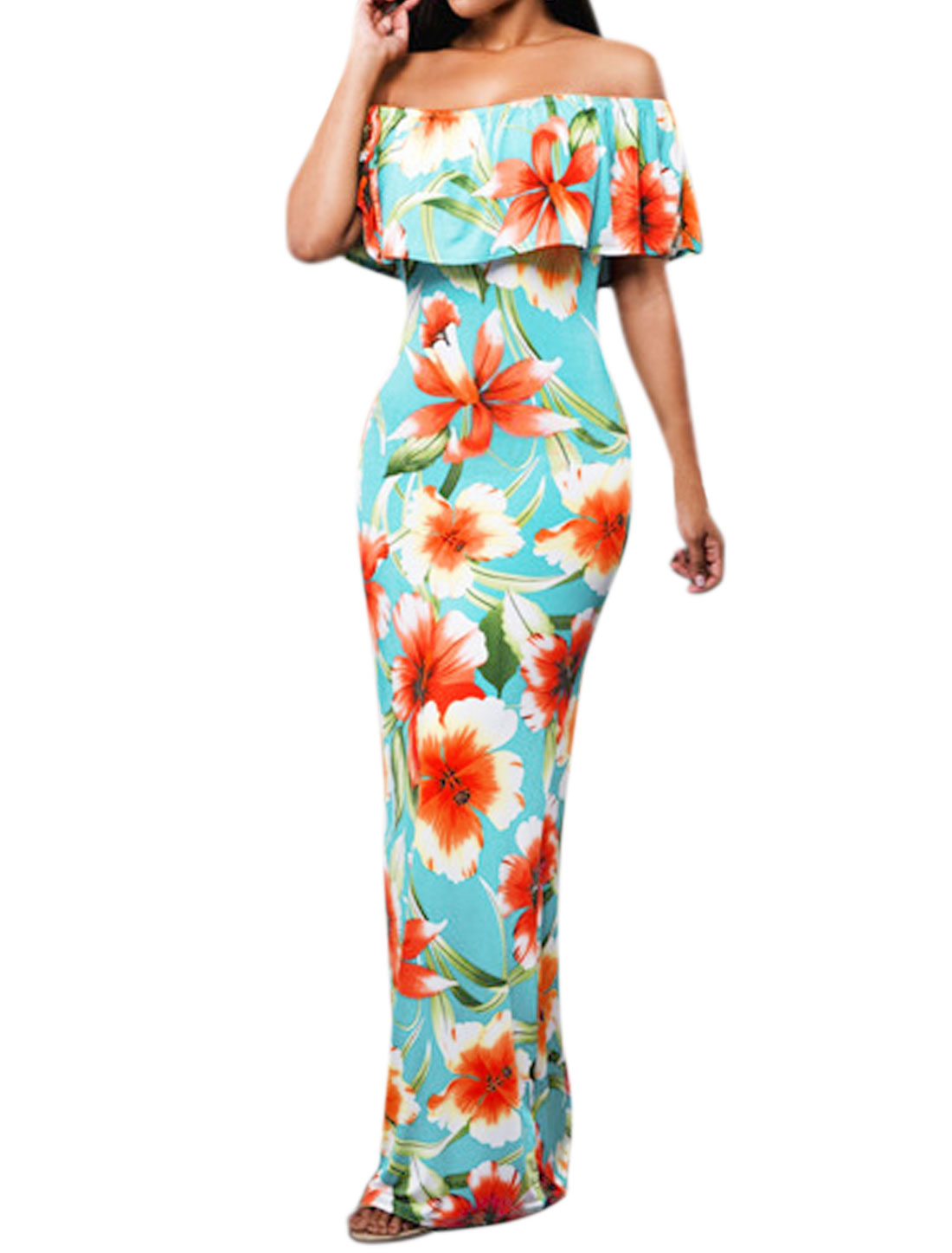 Women Off Shoulder Overlay Upper Floral Prints Maxi Dress Turquoise M