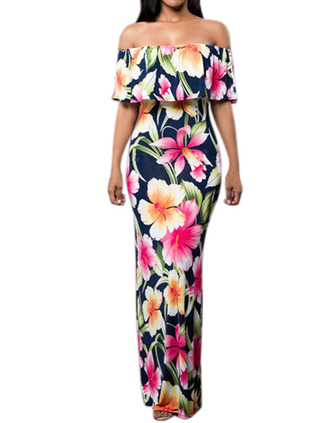 Women Off Shoulder Overlay Upper Floral Prints Maxi Dress Navy Blue M